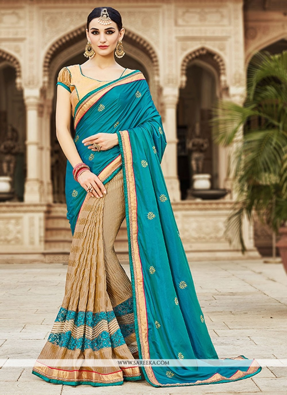 Silk Cream Embroidered Work Designer Saree