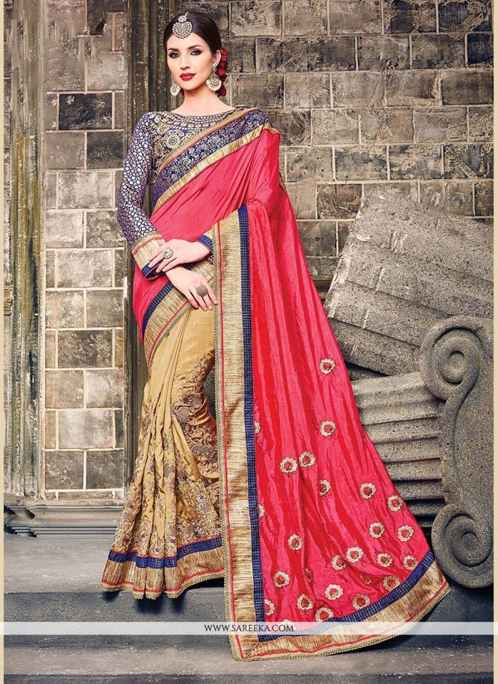 Beige Patch Border Work Raw Silk Classic Saree