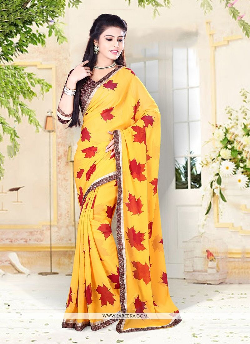 Georgette Patch Border Work Designer Saree
