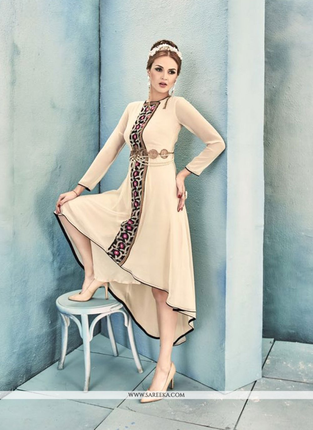 Embroidered Work Georgette Beige Party Wear Kurti