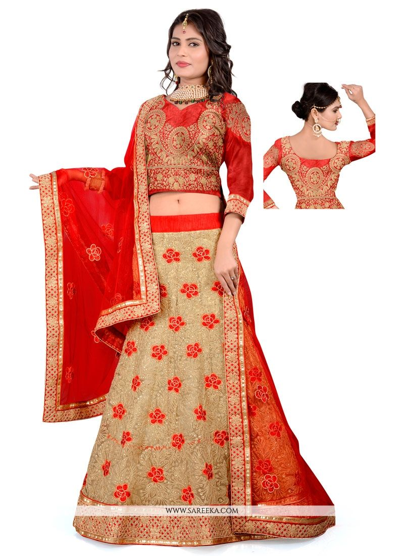 Net Beige and Red A Line Lehenga Choli