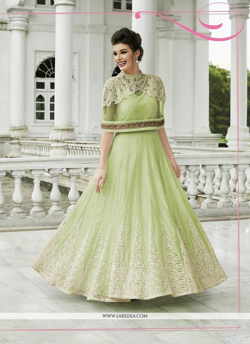 Net Green Resham Work Anarkali Salwar Kameez