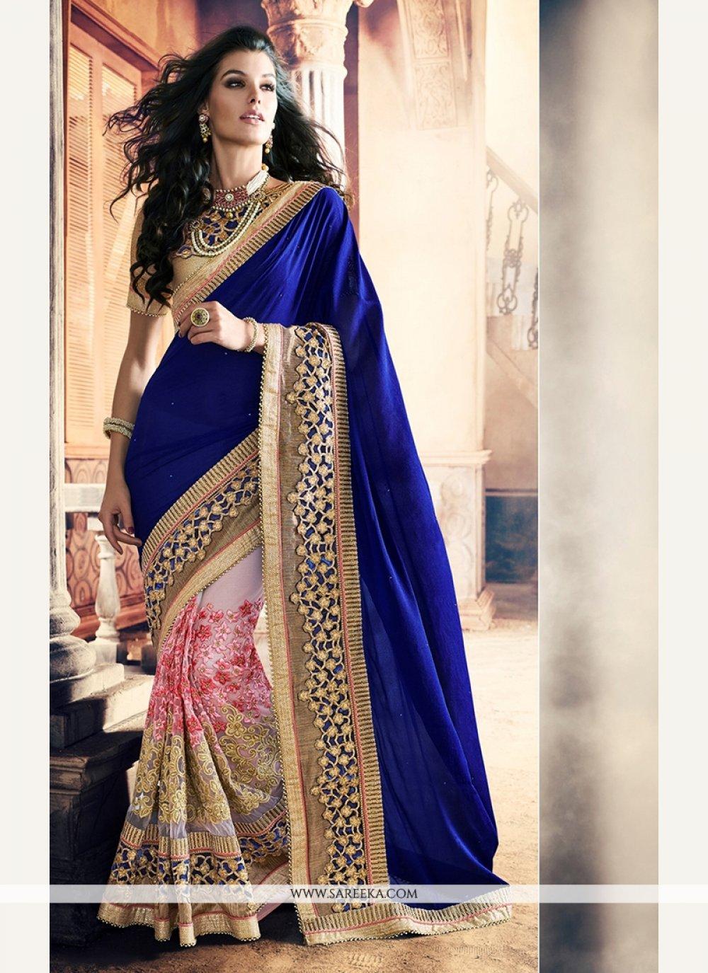 Blue Net Classic Saree