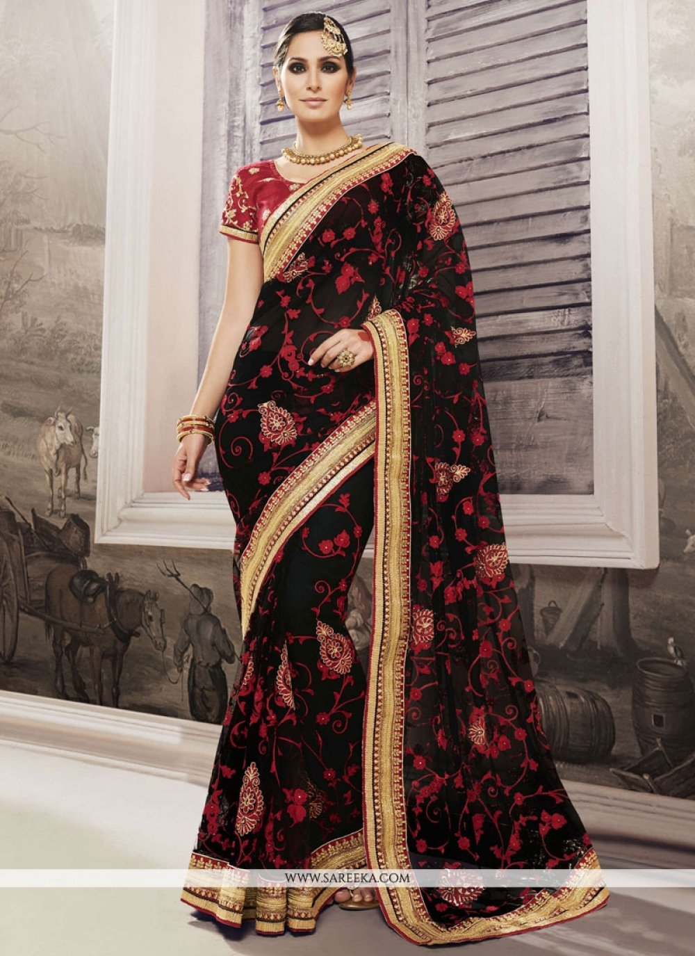 Embroidered Work Black Georgette Trendy Saree