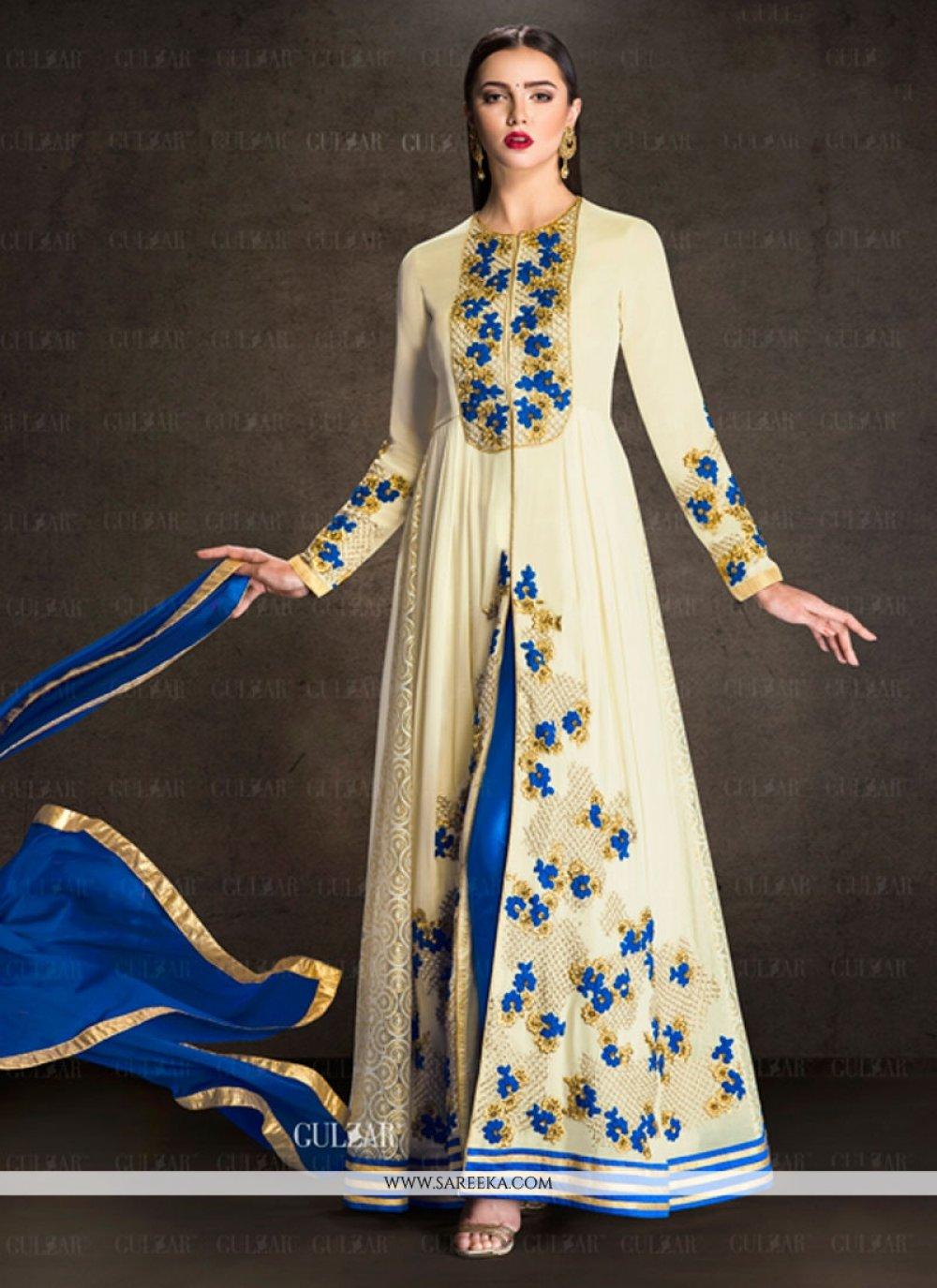 Embroidered Work Faux Georgette Designer Salwar Suit