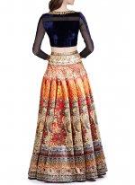 Tafeta silk Multi Colour Digital Print Work Designer Replica Lehenga Choli