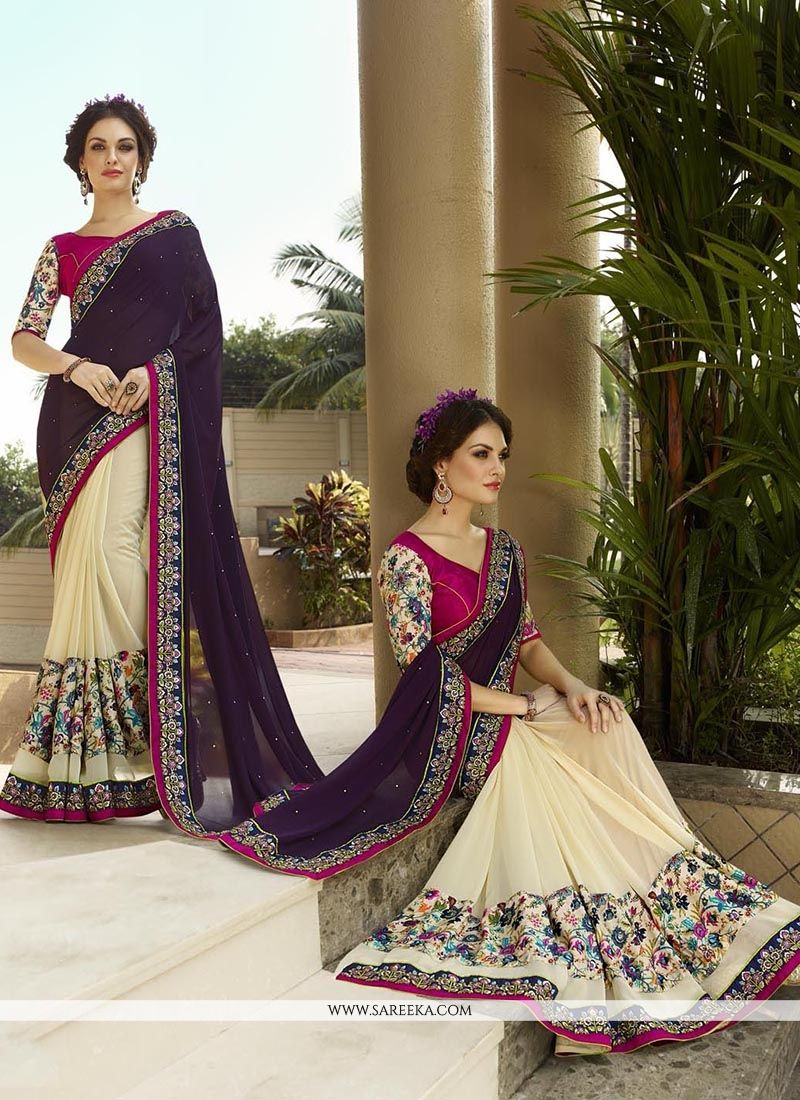 Patch Border Work Cream and Purple Georgette Classic Designer Saree