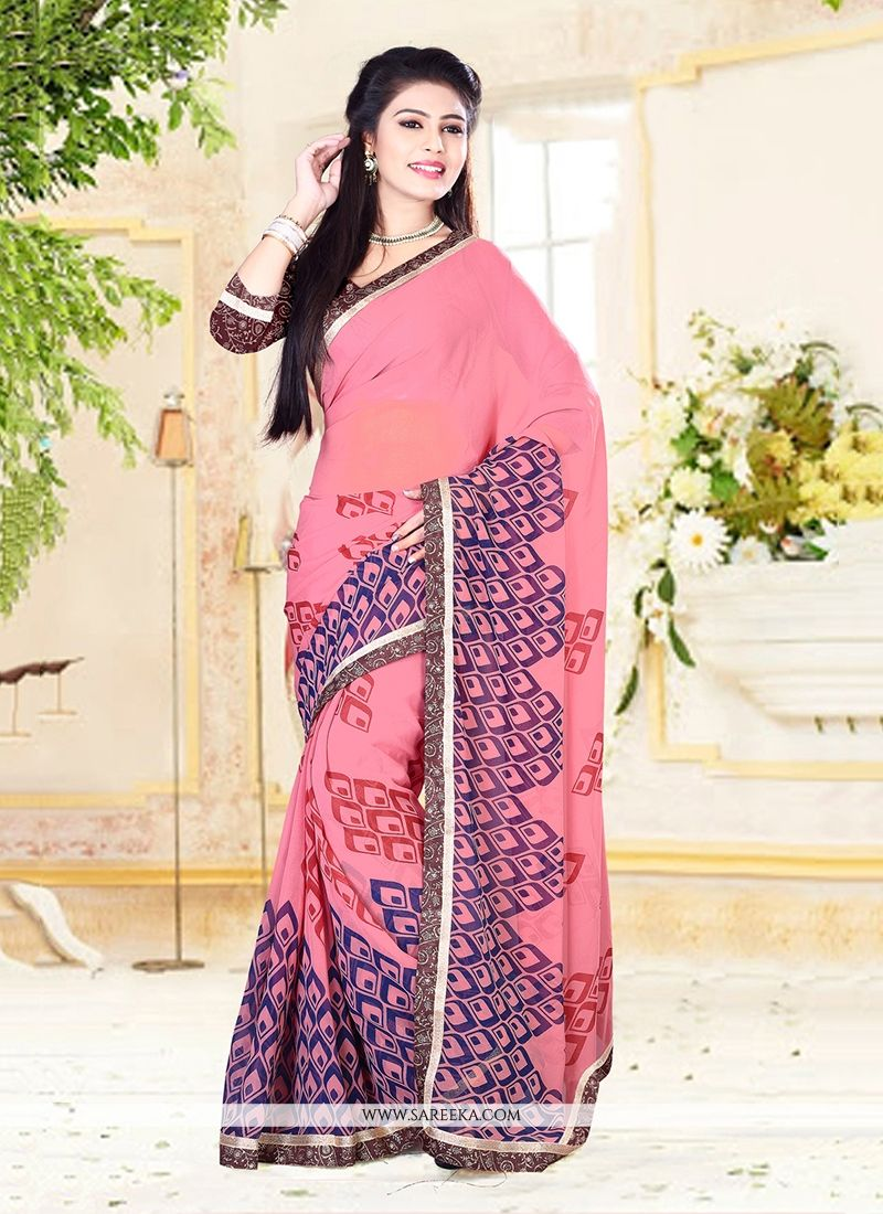Pink Patch Border Work Designer Saree