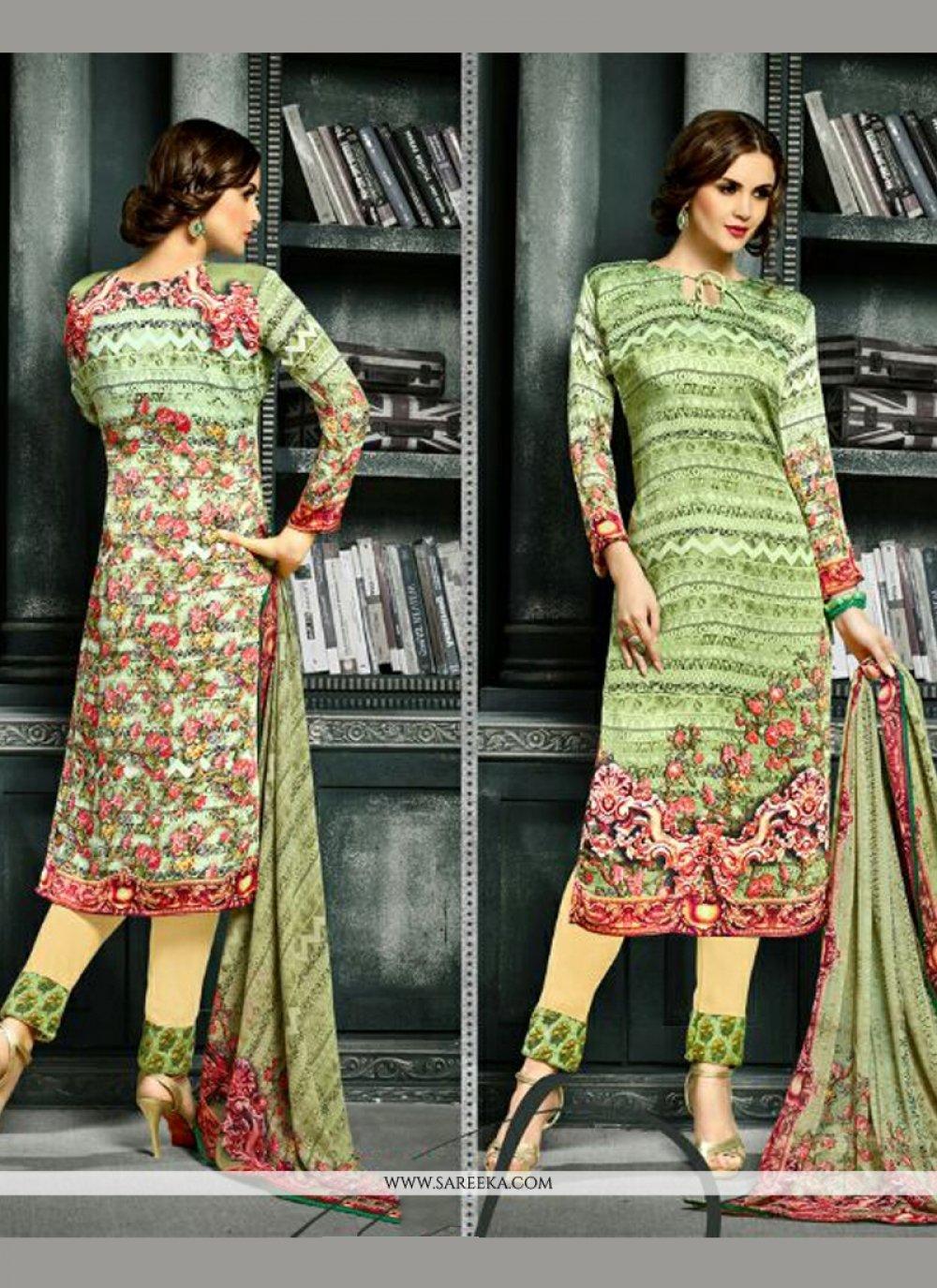 Print Work Green Churidar Designer Suit