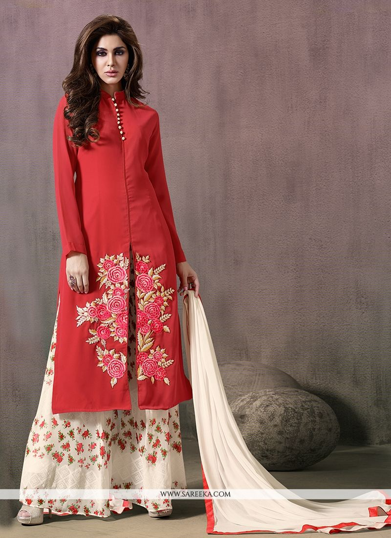 31ab47e71d9 Buy Print Work Red Georgette Designer Palazzo Salwar Suit Online   New  Zealand -