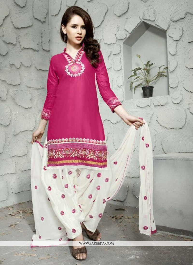 Embroidered Cotton   Trendy Punjabi Churidar Suit in Hot Pink