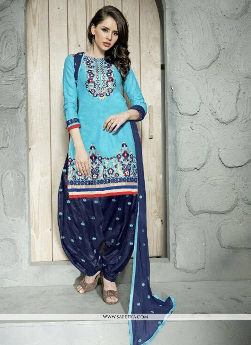 Embroidered Cotton   Trendy Punjabi Churidar Suit in Turquoise