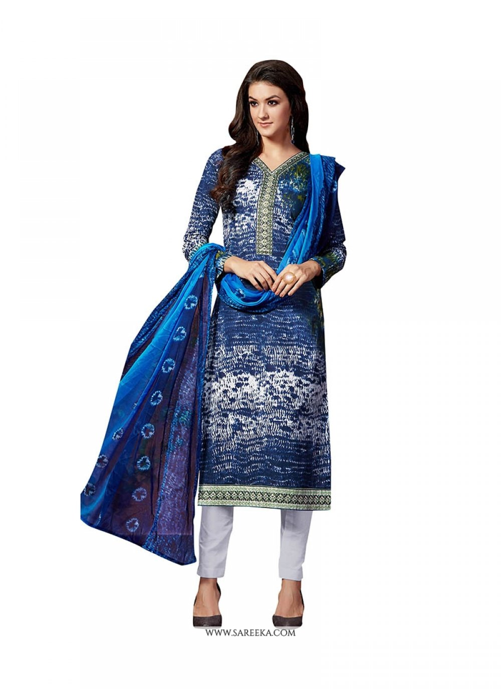 Embroidered Fancy Fabric Pant Style Suit in Blue