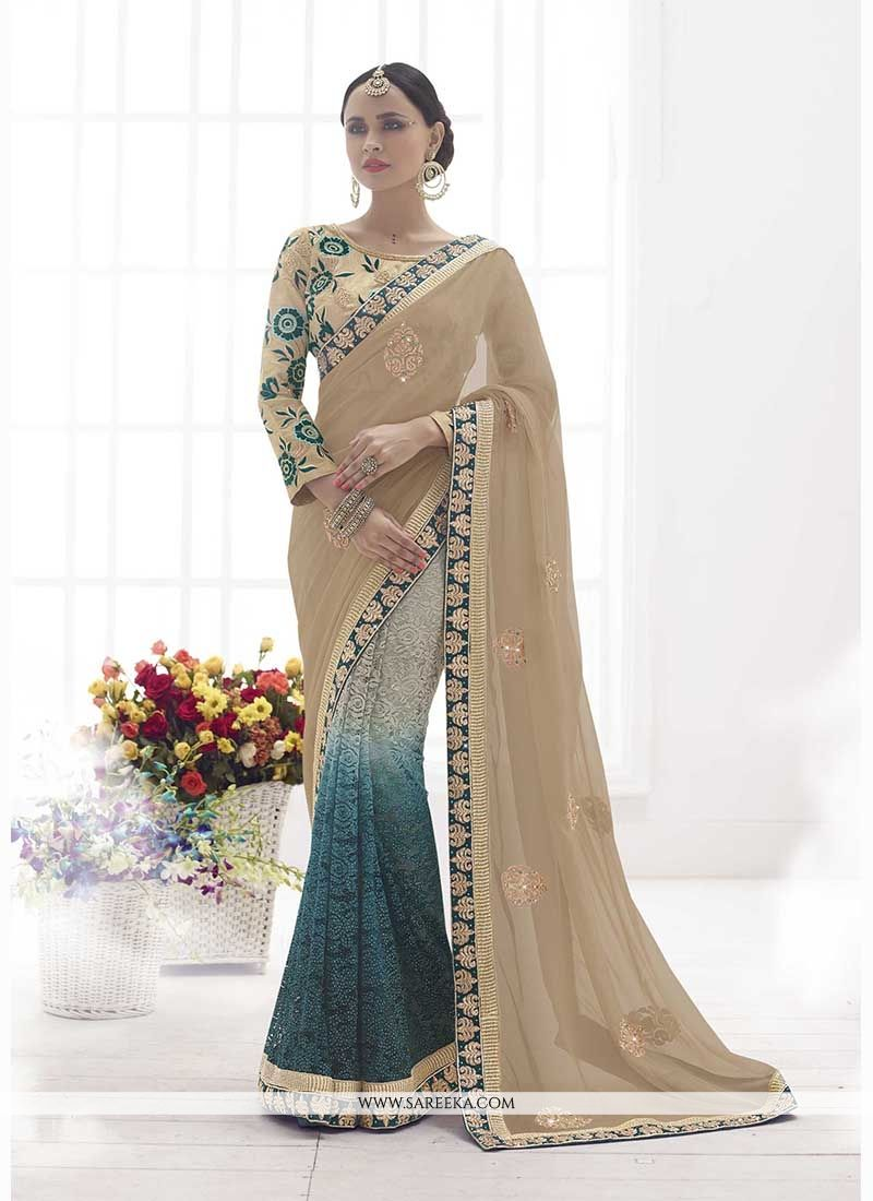 Embroidered Faux Chiffon Classic Designer Saree in Beige