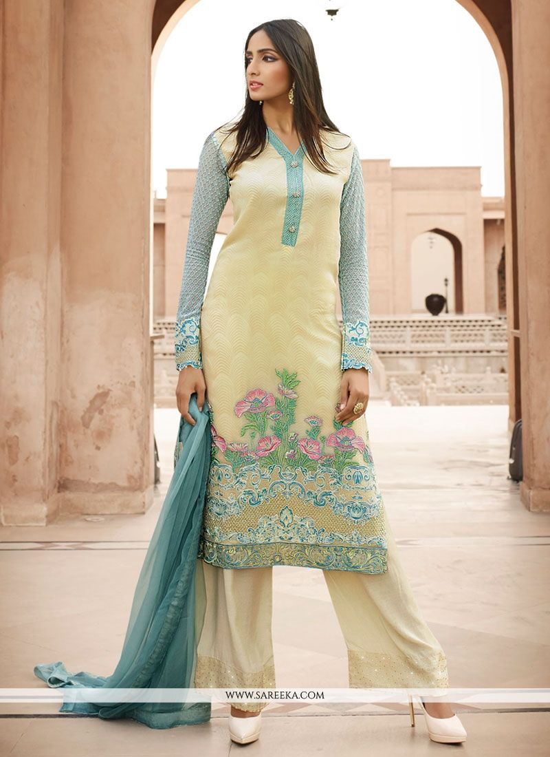 3c94da2467 Buy Embroidered Georgette Designer Pakistani Salwar Suit in Yellow Online  at lowest price -
