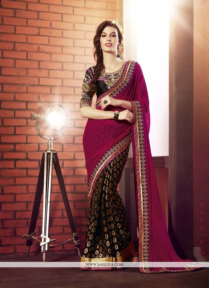 Embroidered Georgette Designer Saree in Brown and Magenta