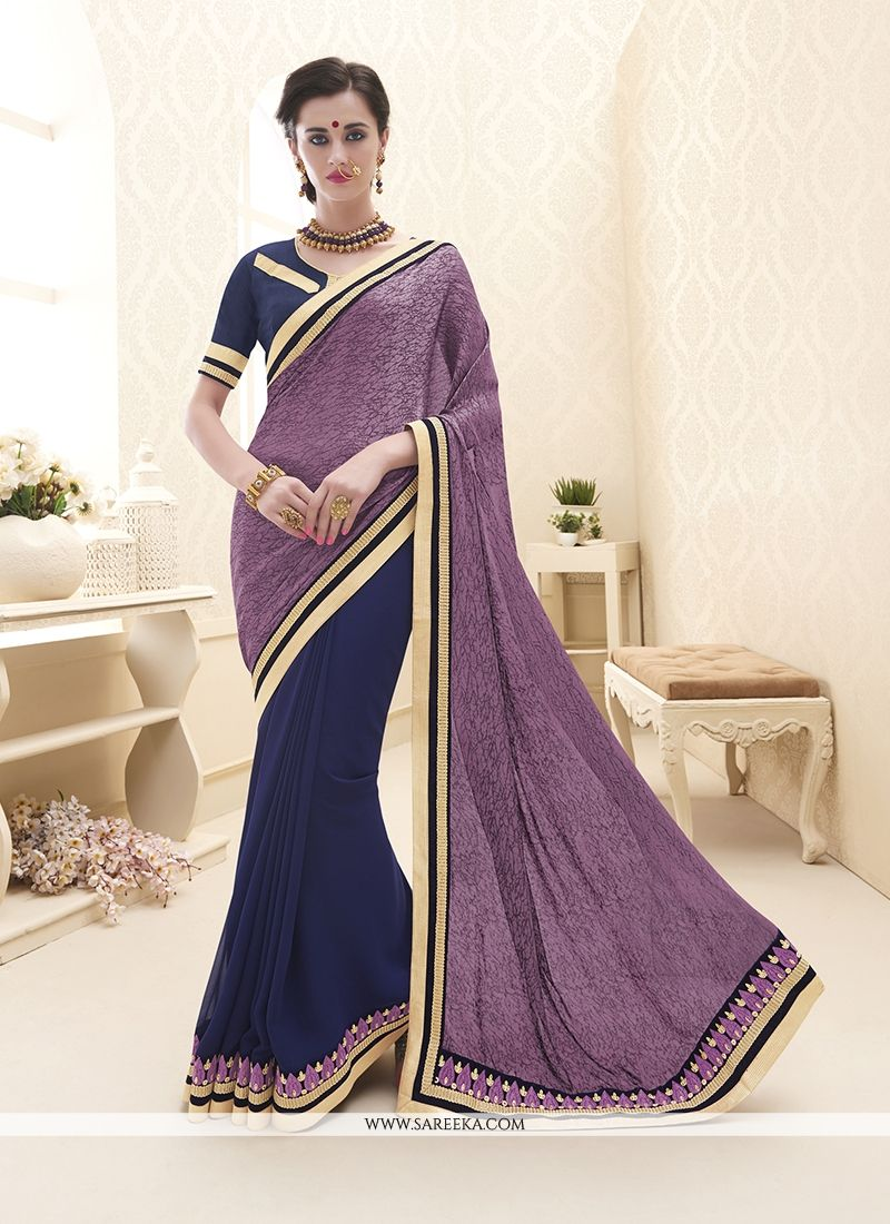 Embroidered Georgette Designer Saree in Navy Blue
