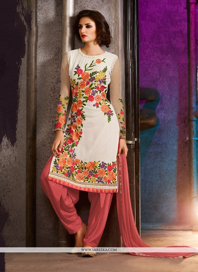 a1a3f96e789 Buy Embroidered Georgette Punjabi Suit in Off White Online   Australia -
