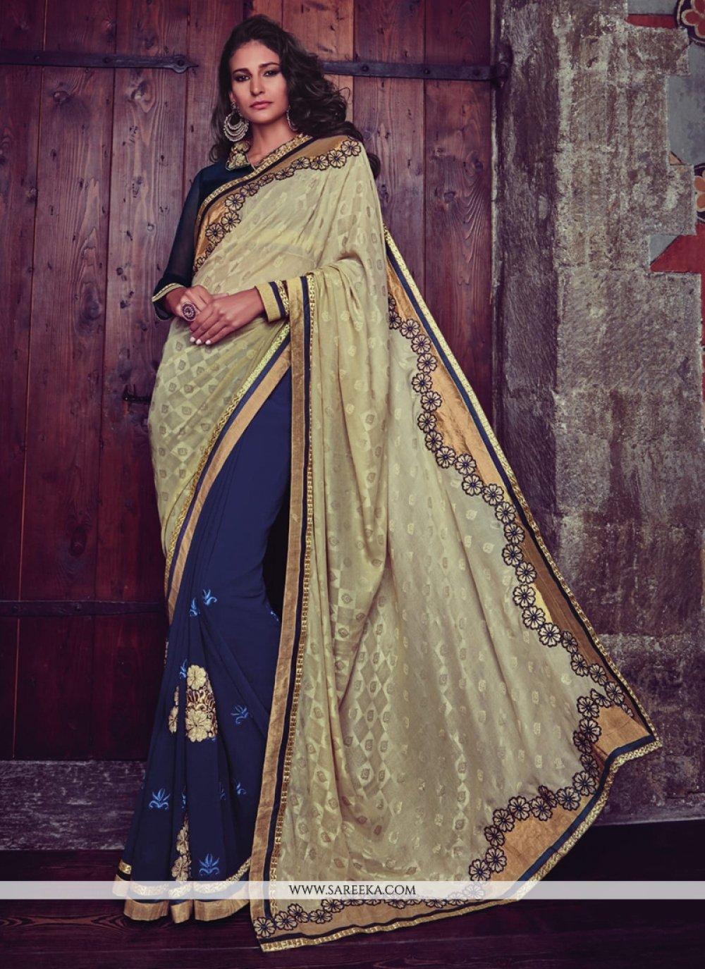 Embroidered Jacquard Designer Half N Half saree in Navy Blue