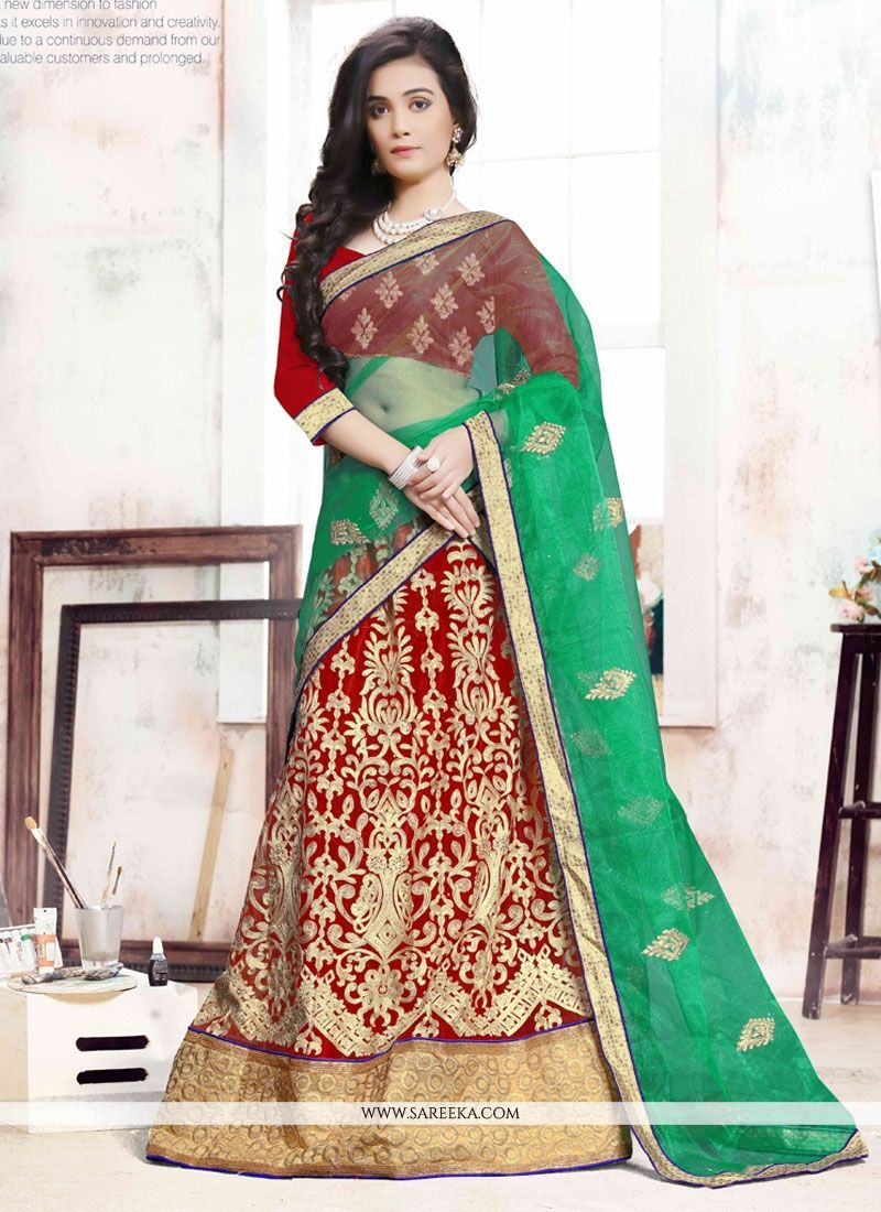 Embroidered Net A Line Lehenga Choli in Green and Red