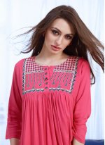Embroidered Rayon Party Wear Kurti in Hot Pink