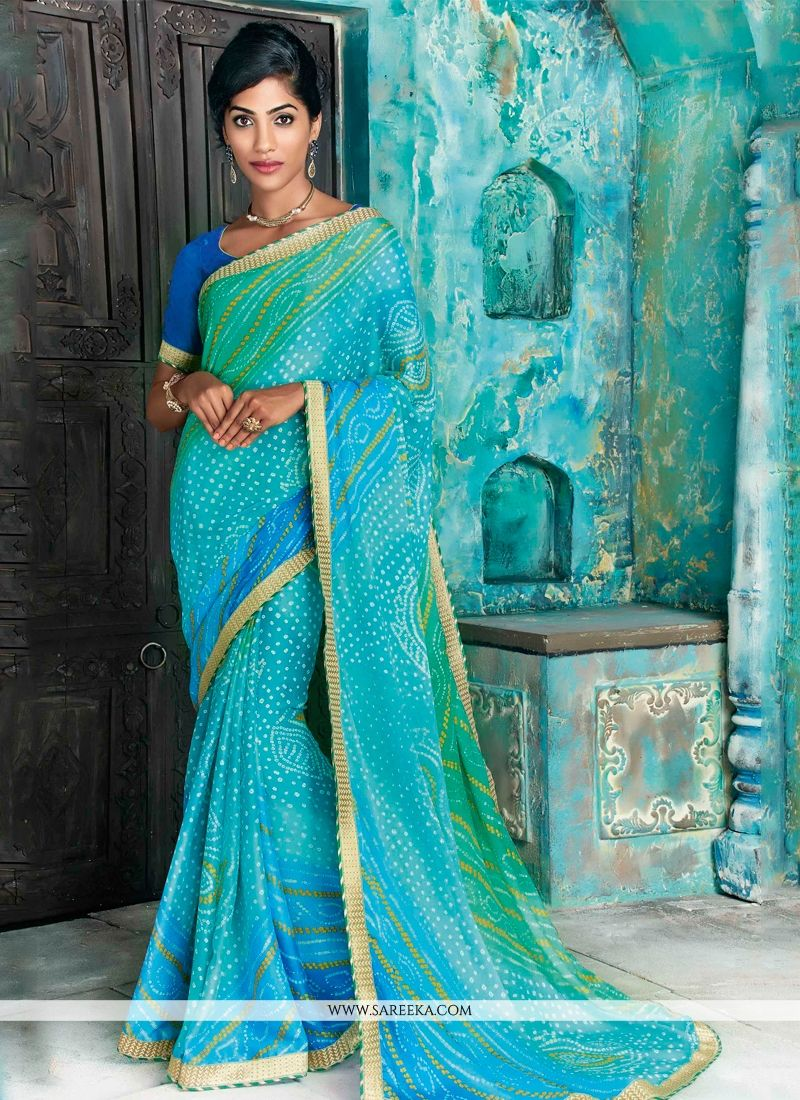 Faux Chiffon Blue Patch Border Work Designer Saree