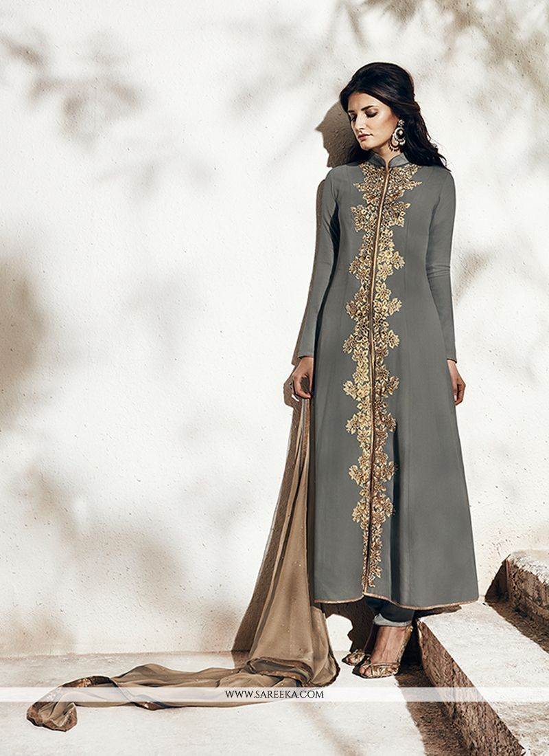 Resham Work Grey Georgette Designer Suit