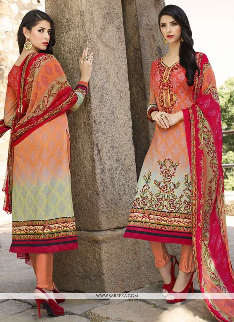Multi Colour Embroidered Work Churidar Designer Suit