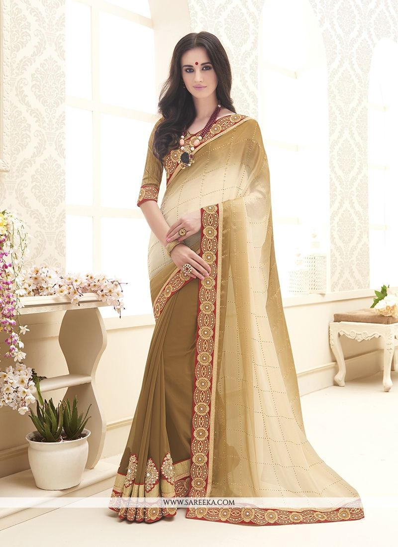 Chiffon Satin Embroidered Work Designer Saree