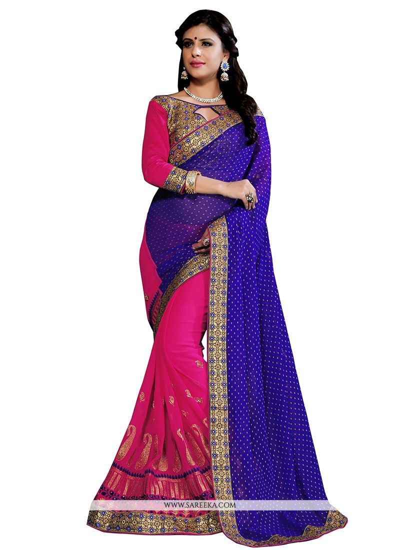 Embroidered Work Hot Pink Designer Half N Half saree