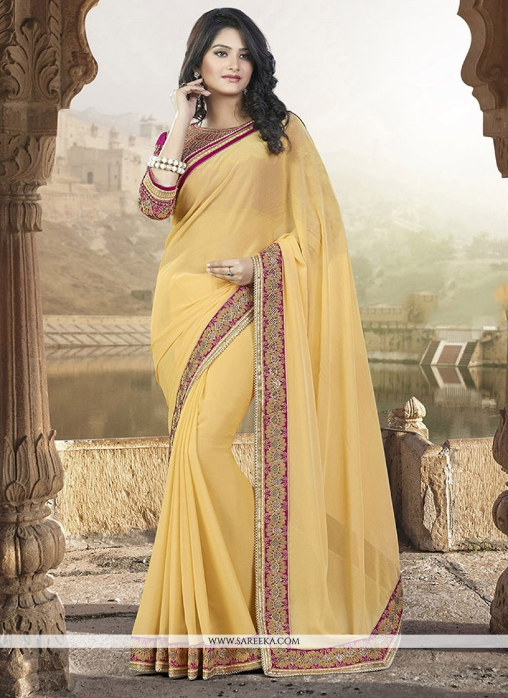Faux Chiffon Embroidered Work Trendy Saree