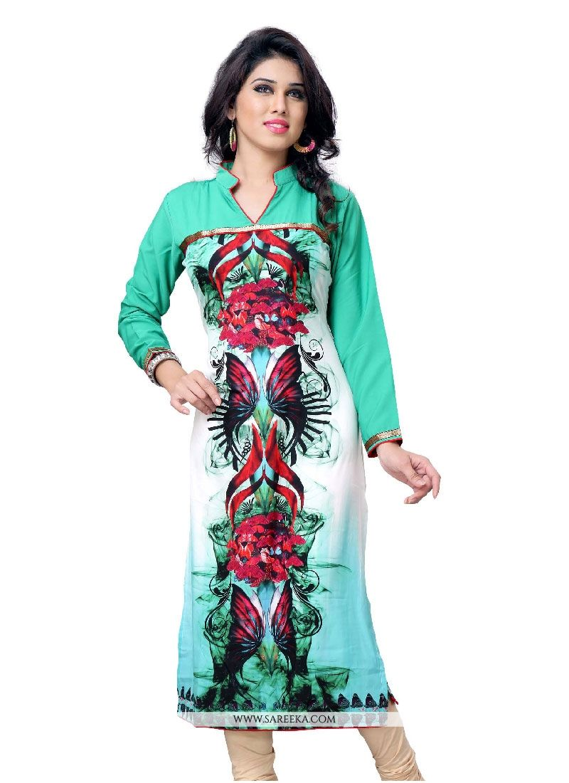 Faux Crepe Party Wear Kurti