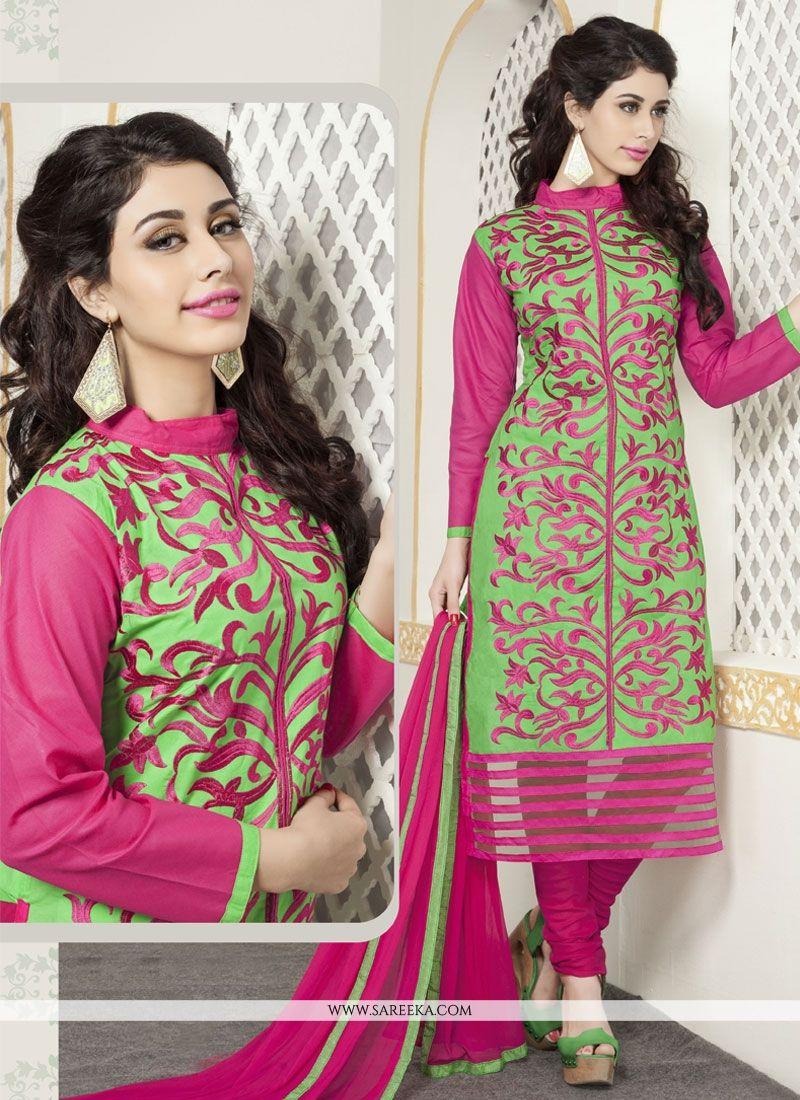 Green and Pink Cotton   Churidar Designer Suit