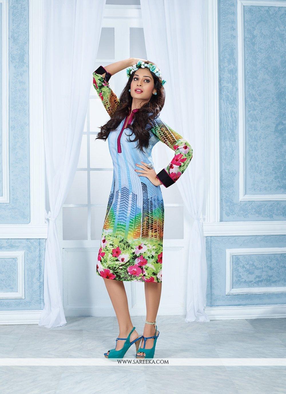 Multi Colour Print Work Georgette Party Wear Kurti