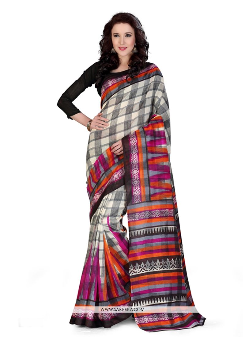 Print Work Multi Colour Art Silk Casual Saree