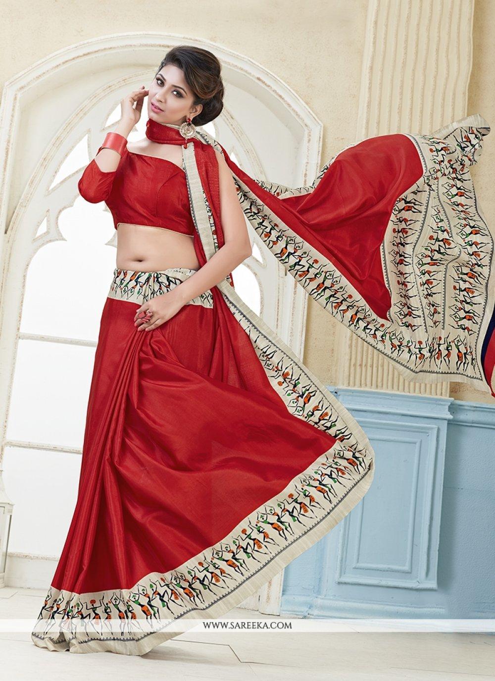Red Print Work Kanchipuram silk Casual Saree