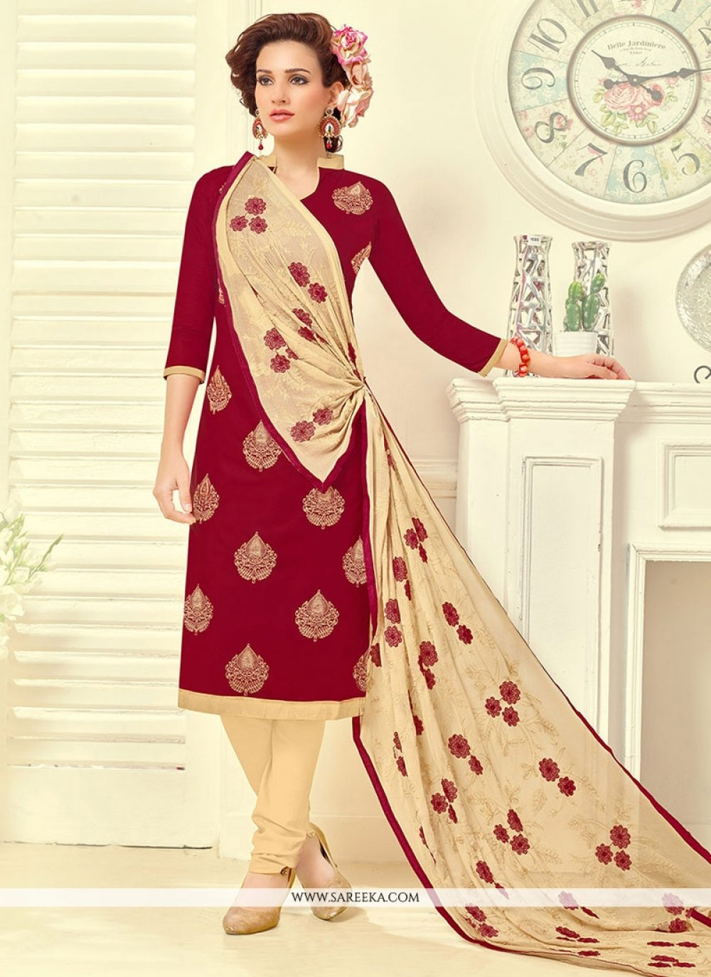 Embroidered Work Red Churidar Suit