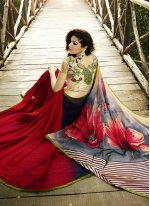 Georgette Black and Red Designer Saree