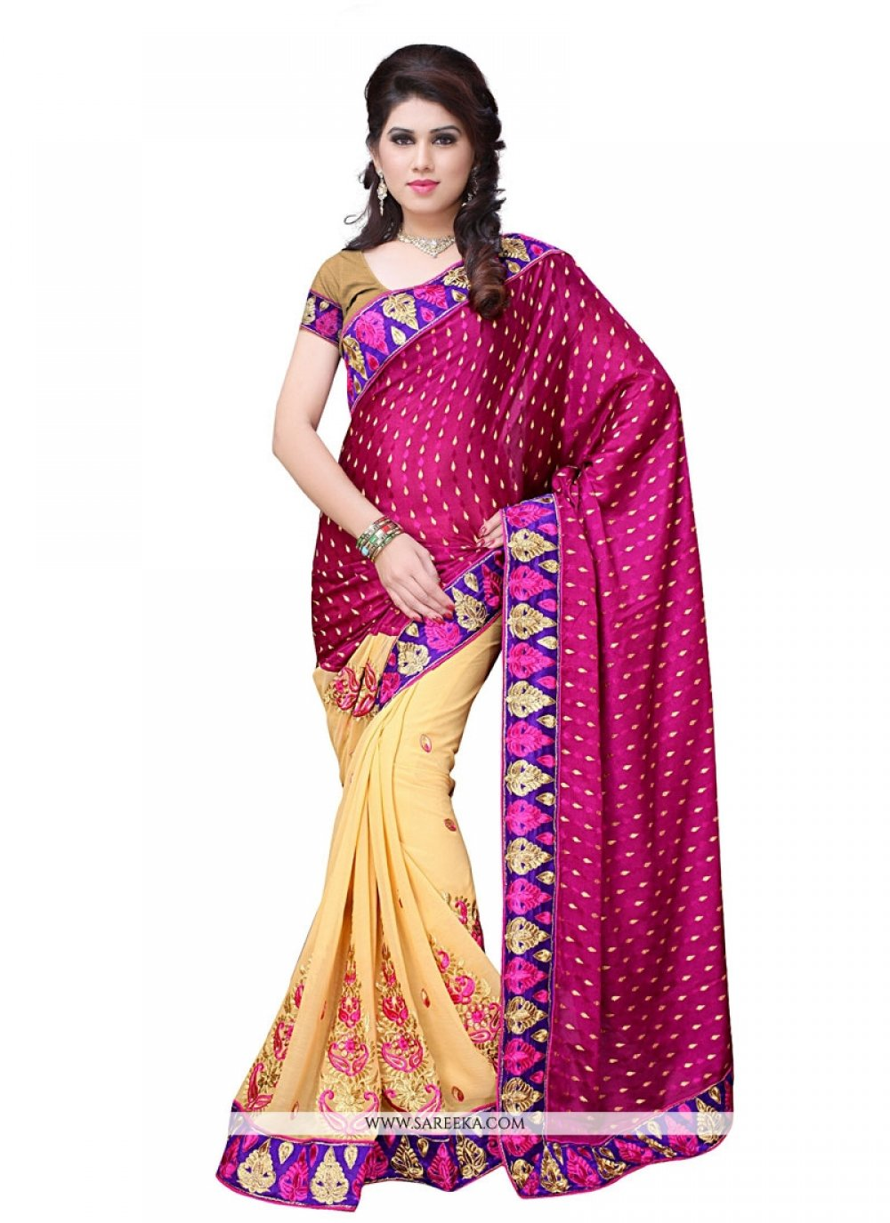 Georgette Magenta Embroidered Work Designer Saree