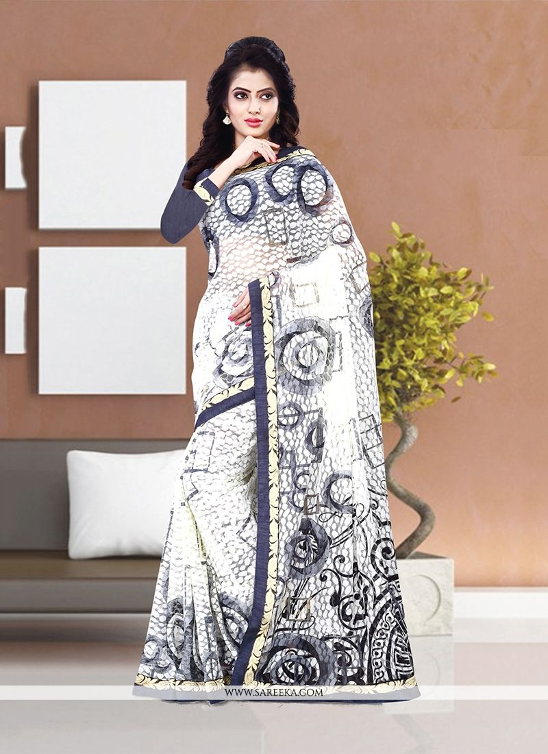 Print Work Net Casual Saree