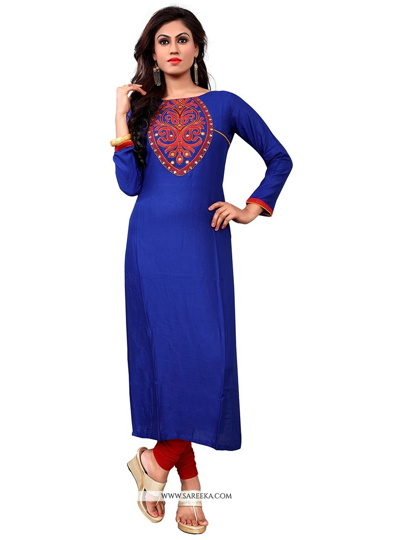 Cotton   Blue Embroidered Work Party Wear Kurti