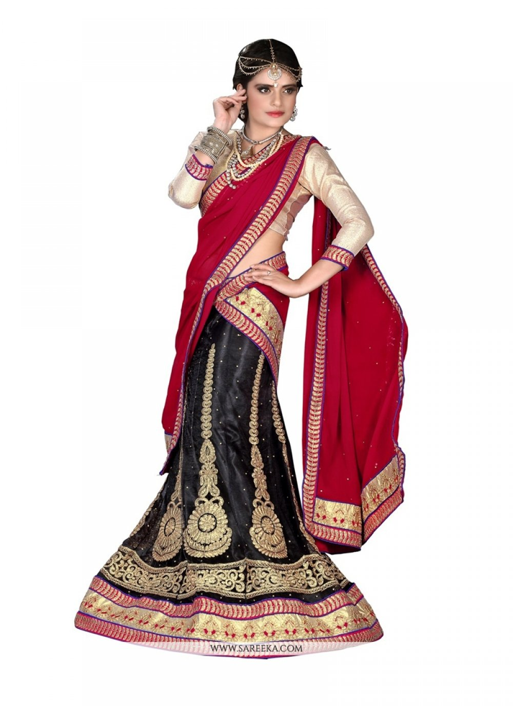 Embroidered Work Black Net A Line Lehenga Choli