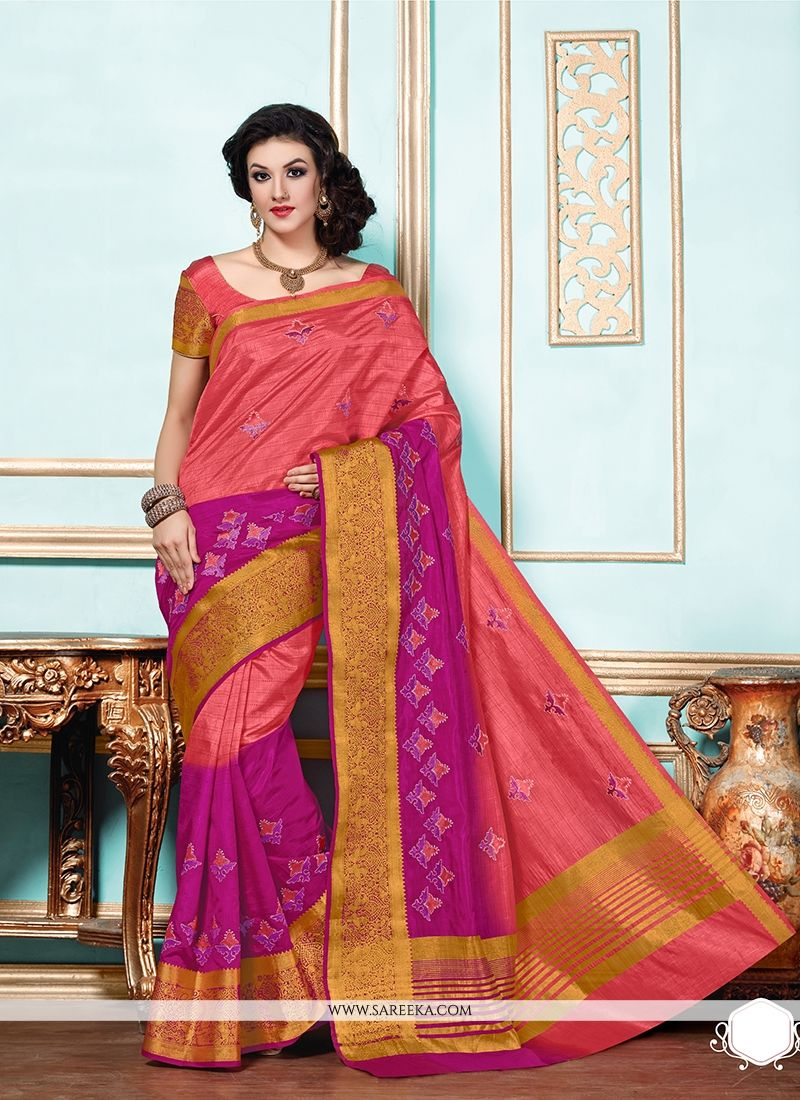 Hot Pink Patch Border Work Designer Saree