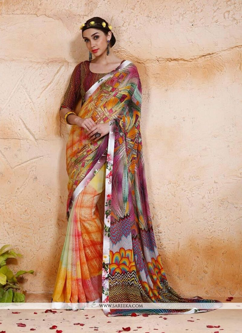 Digital Print Work Designer Saree