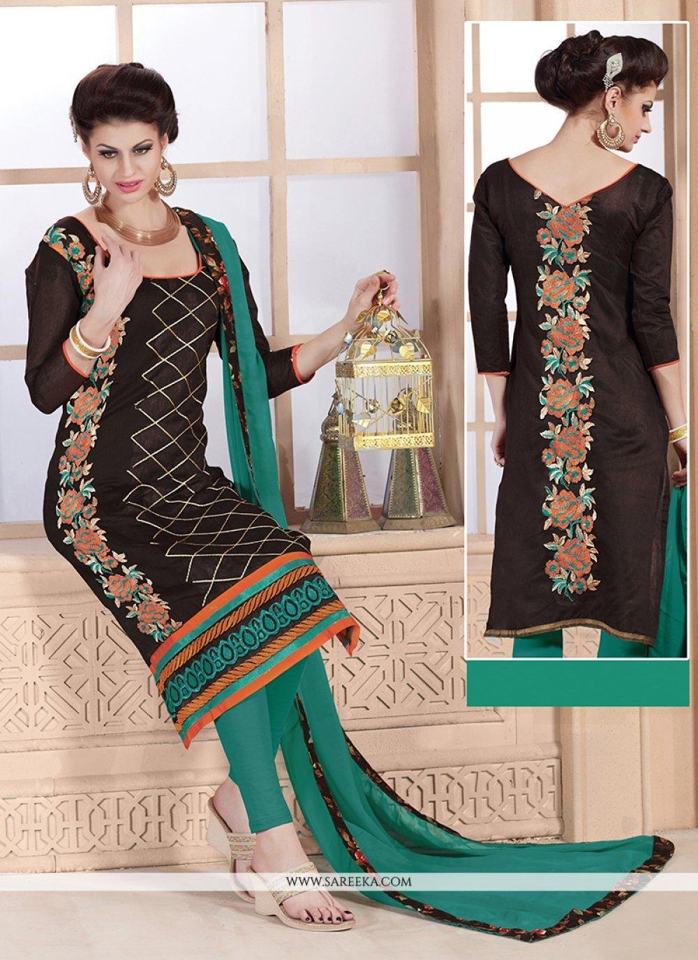 Embroidered Work Brown Churidar Designer Suit