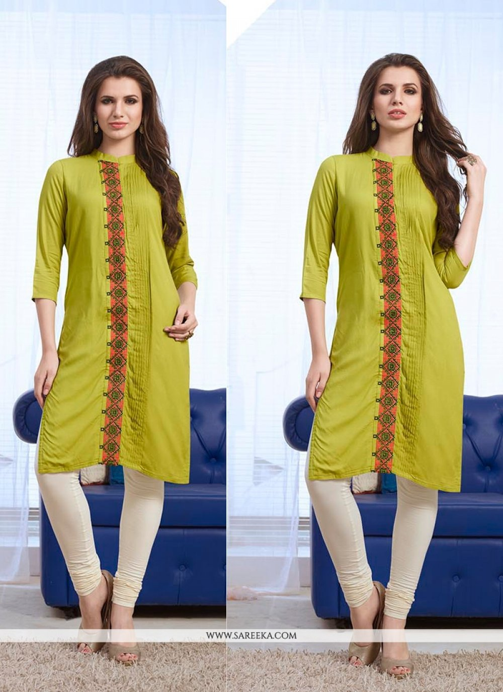 Green Embroidered Work Party Wear Kurti