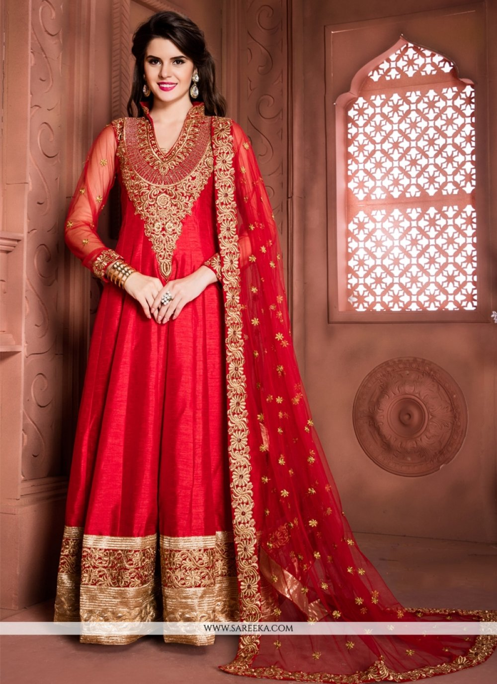 Red Embroidered Work Banglori Silk Designer Floor Length Suit