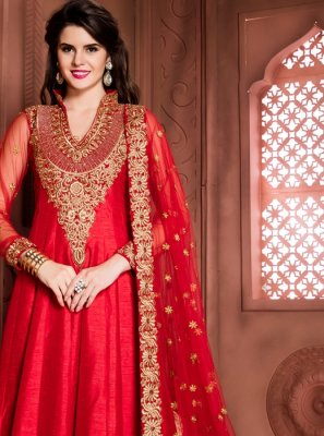 Red Embroidered Work Banglori Silk Designer Floor Length Suit