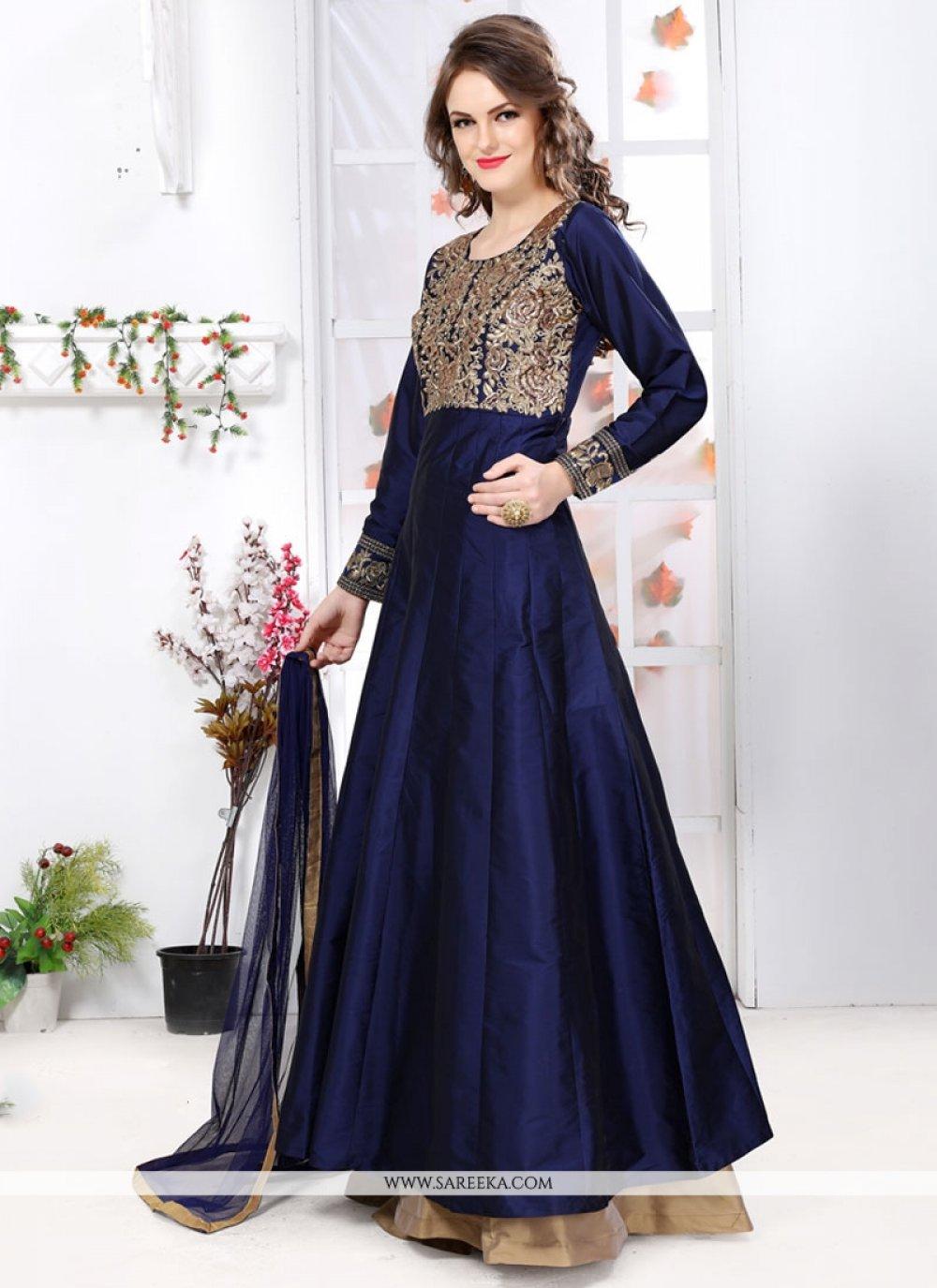 Resham Work Blue Tafeta silk Designer Floor Length Suit