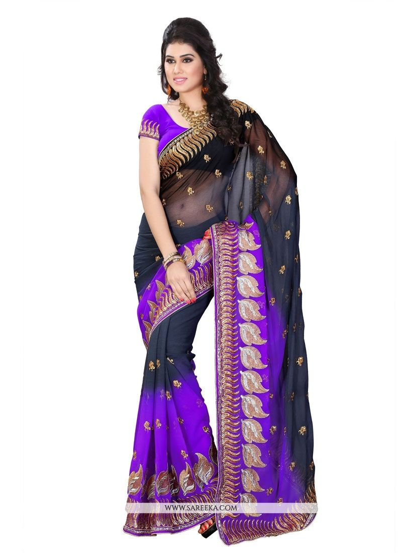 Black Patch Border Work Georgette Designer Saree